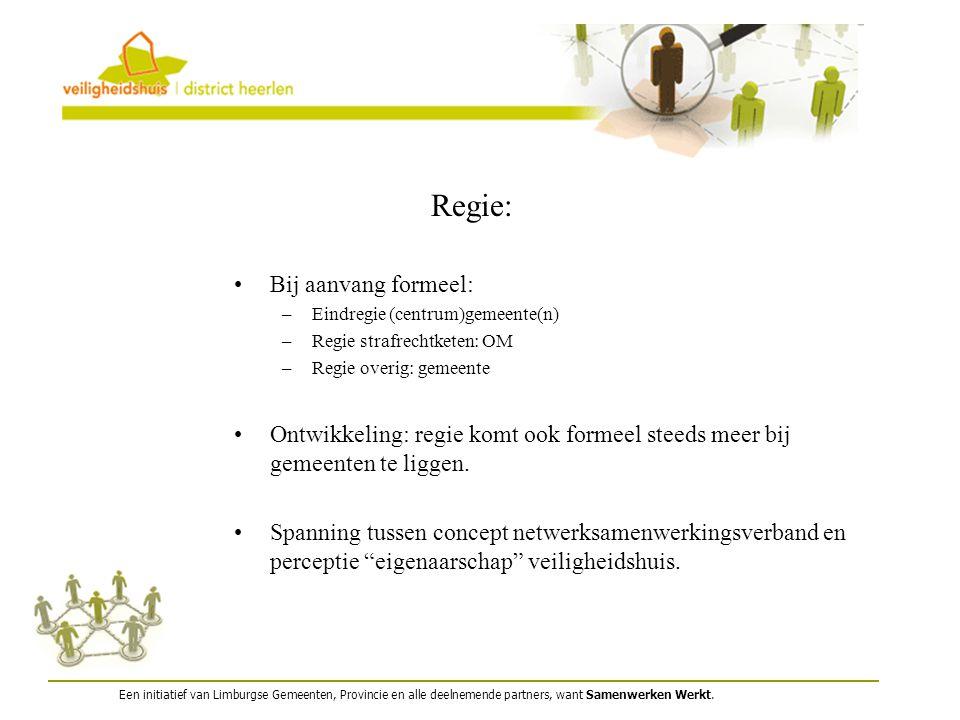 Een initiatief van Limburgse Gemeenten, Provincie en alle deelnemende partners, want Samenwerken Werkt. Regie: Bij aanvang formeel: –Eindregie (centru