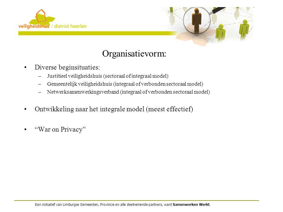 Een initiatief van Limburgse Gemeenten, Provincie en alle deelnemende partners, want Samenwerken Werkt. Organisatievorm: Diverse beginsituaties: –Just