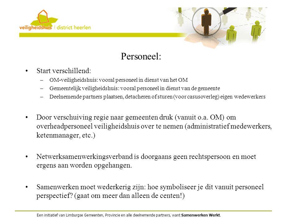 Een initiatief van Limburgse Gemeenten, Provincie en alle deelnemende partners, want Samenwerken Werkt. Personeel: Start verschillend: –OM-veiligheids