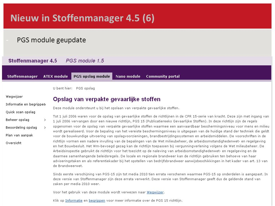 Nieuw in Stoffenmanager 4.5 (6) -PGS module geupdate