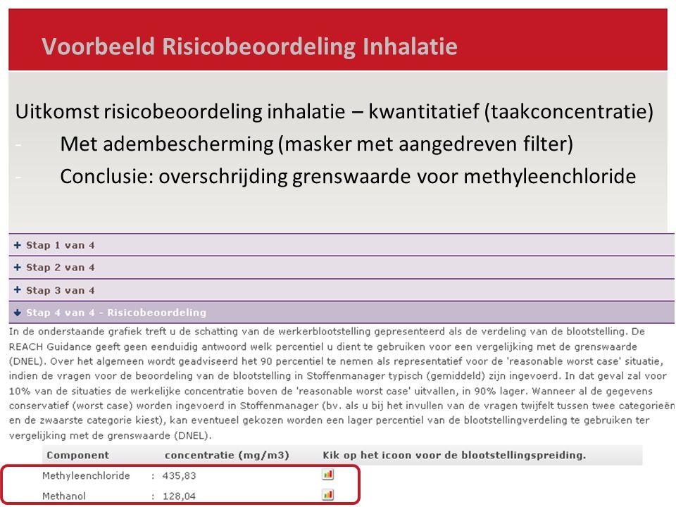Voorbeeld Risicobeoordeling Inhalatie Berekenen daggemiddelde concentratie (per stof .