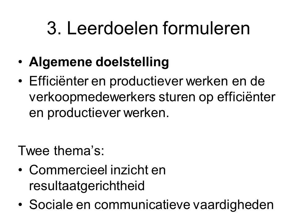 3. Leerdoelen formuleren Algemene doelstelling Efficiënter en productiever werken en de verkoopmedewerkers sturen op efficiënter en productiever werke
