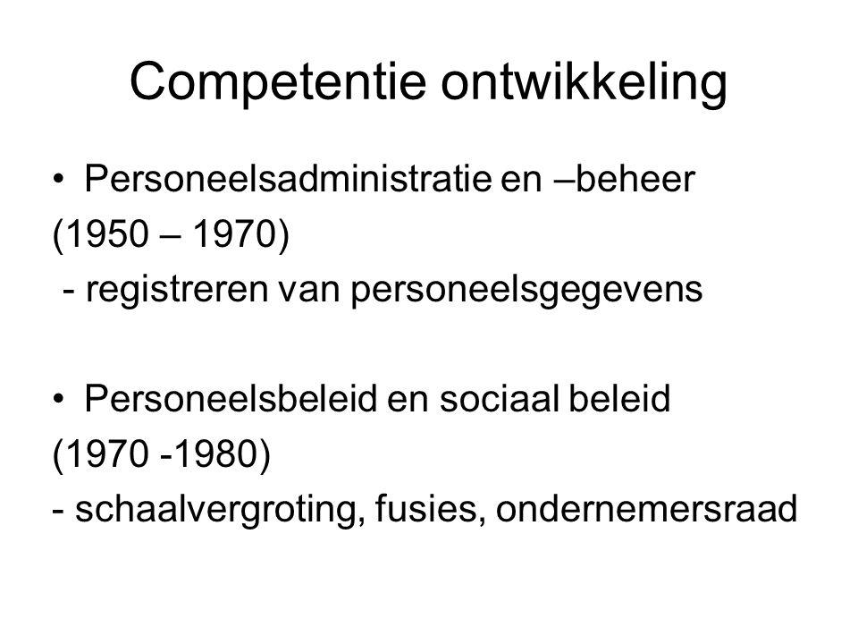 Competentie ontwikkeling Personeelsadministratie en –beheer (1950 – 1970) - registreren van personeelsgegevens Personeelsbeleid en sociaal beleid (197