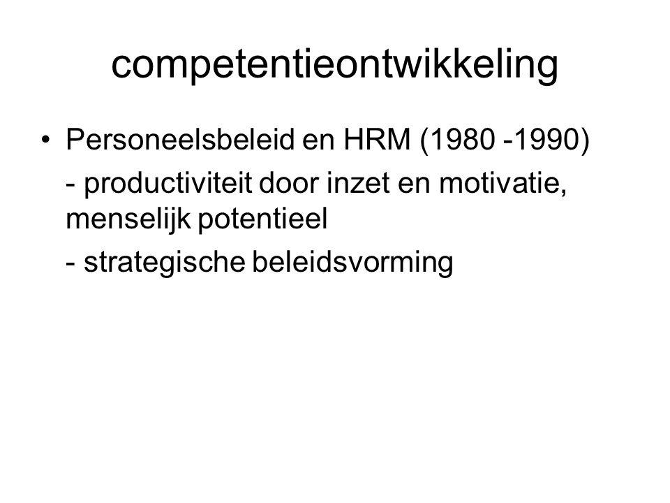 competentieontwikkeling Personeelsbeleid en HRM (1980 -1990) - productiviteit door inzet en motivatie, menselijk potentieel - strategische beleidsvorm