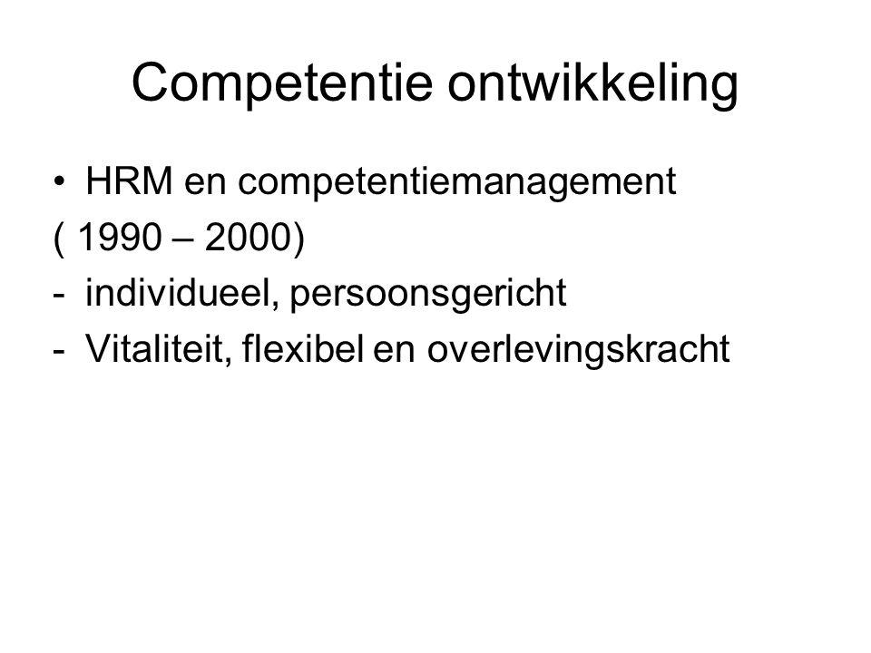 Competentie ontwikkeling HRM en competentiemanagement ( 1990 – 2000) -individueel, persoonsgericht -Vitaliteit, flexibel en overlevingskracht