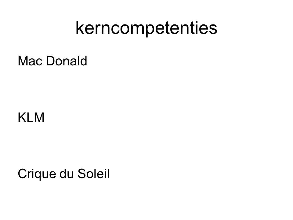 kerncompetenties Mac Donald KLM Crique du Soleil
