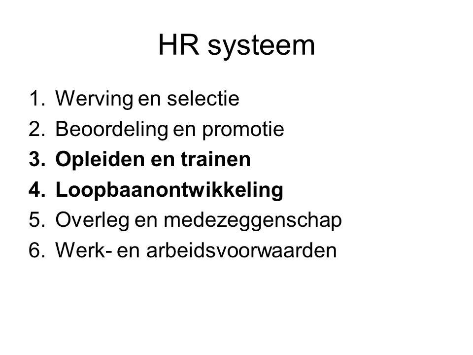 HR systeem 1.Werving en selectie 2.Beoordeling en promotie 3.Opleiden en trainen 4.Loopbaanontwikkeling 5.Overleg en medezeggenschap 6.Werk- en arbeid