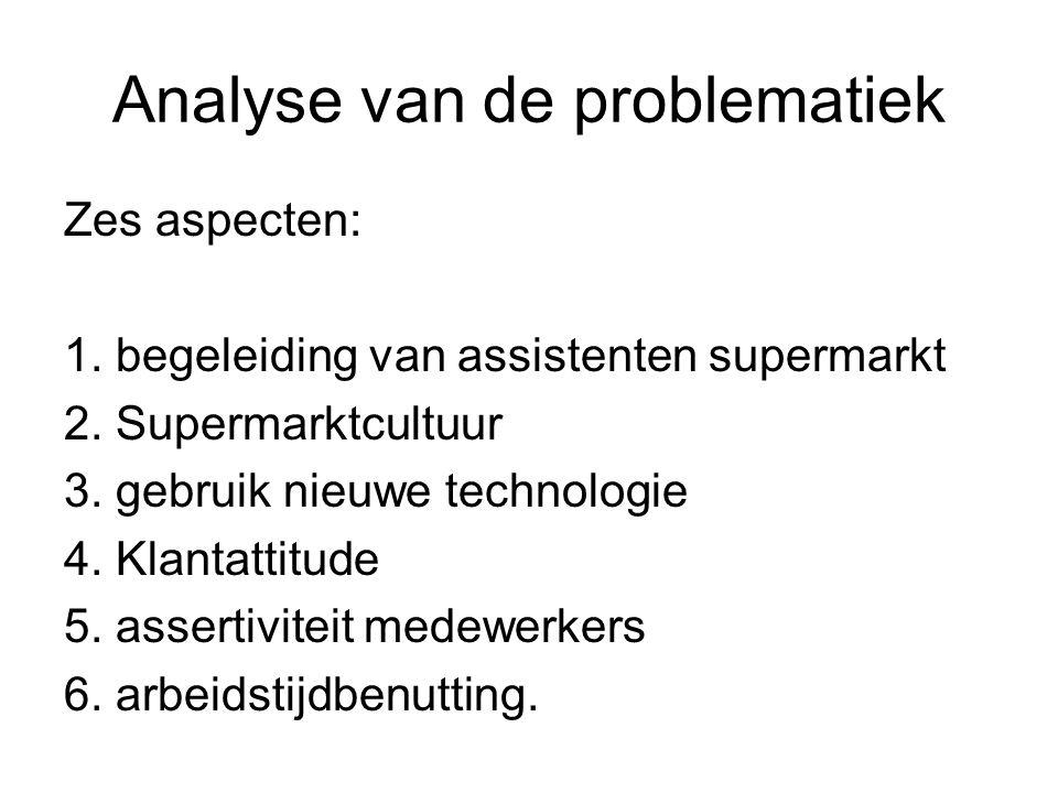 Analyse van de problematiek Zes aspecten: 1. begeleiding van assistenten supermarkt 2. Supermarktcultuur 3. gebruik nieuwe technologie 4. Klantattitud