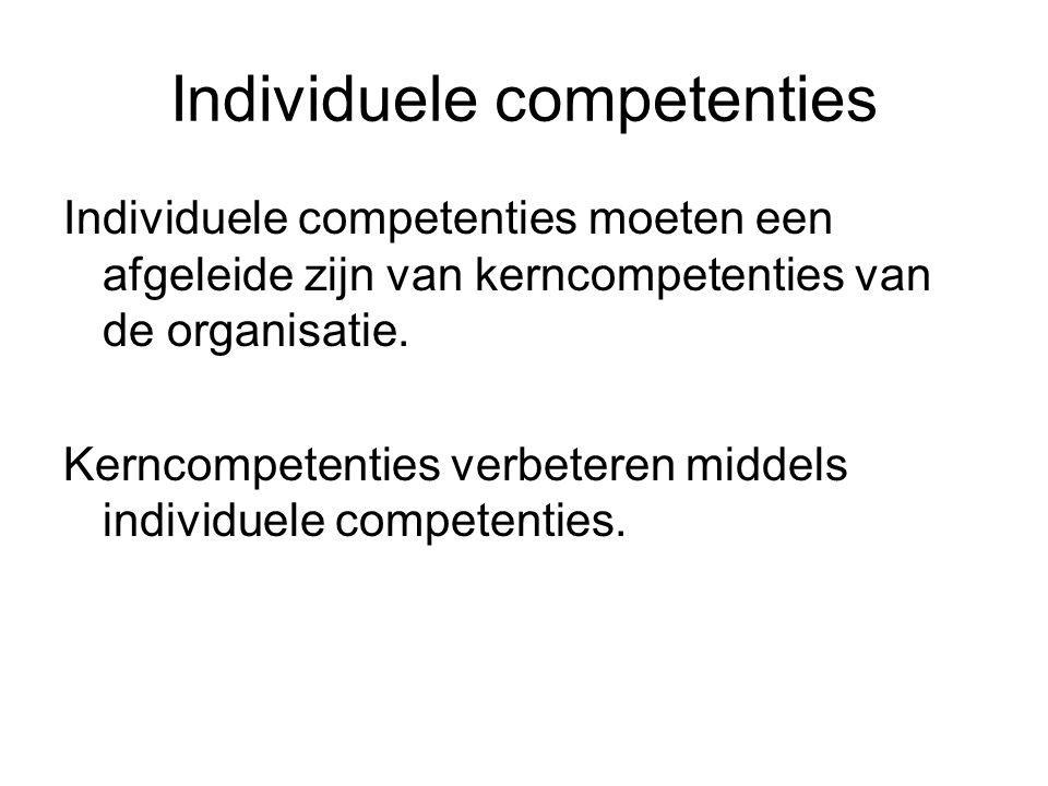 Individuele competenties Individuele competenties moeten een afgeleide zijn van kerncompetenties van de organisatie. Kerncompetenties verbeteren midde