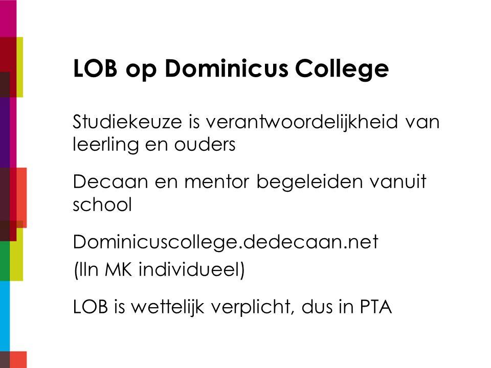 Dominicuscollege.dedecaan.net (lln regulier) LOB-activiteiten verplicht 60 slu Informatiekanaal en portfolio: alles voor LOB op een plek Verslaglegging activiteiten LOB in portfolio