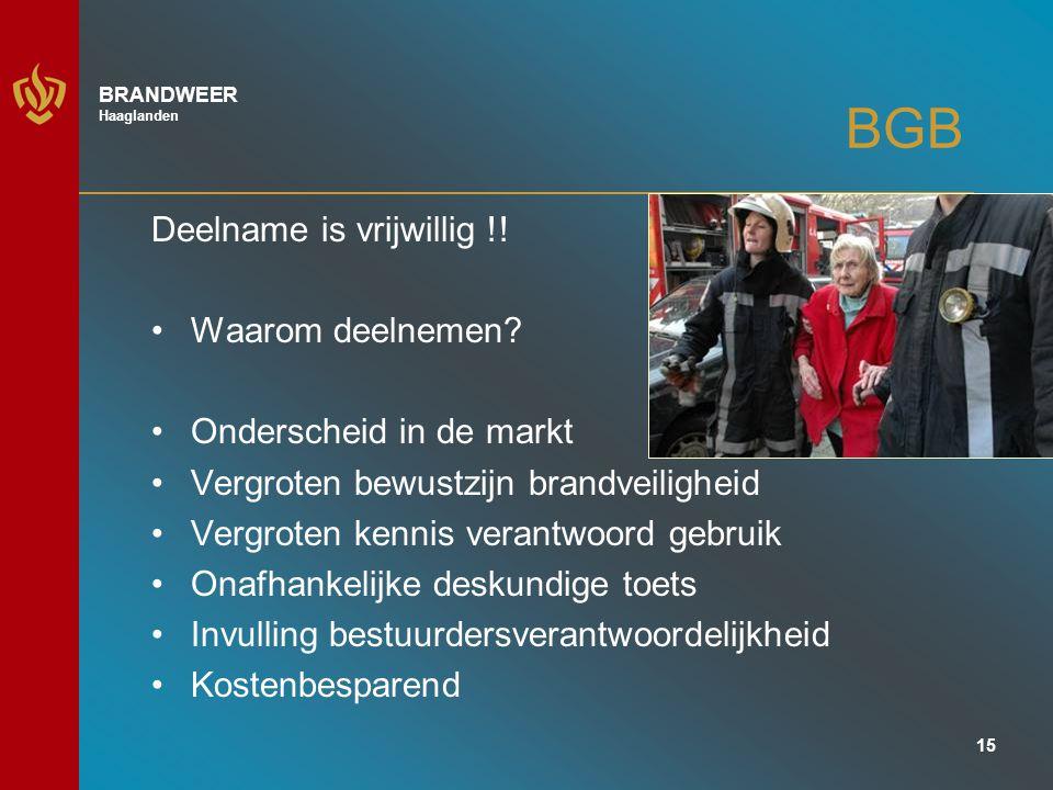 15 BRANDWEER Haaglanden BGB Deelname is vrijwillig !.