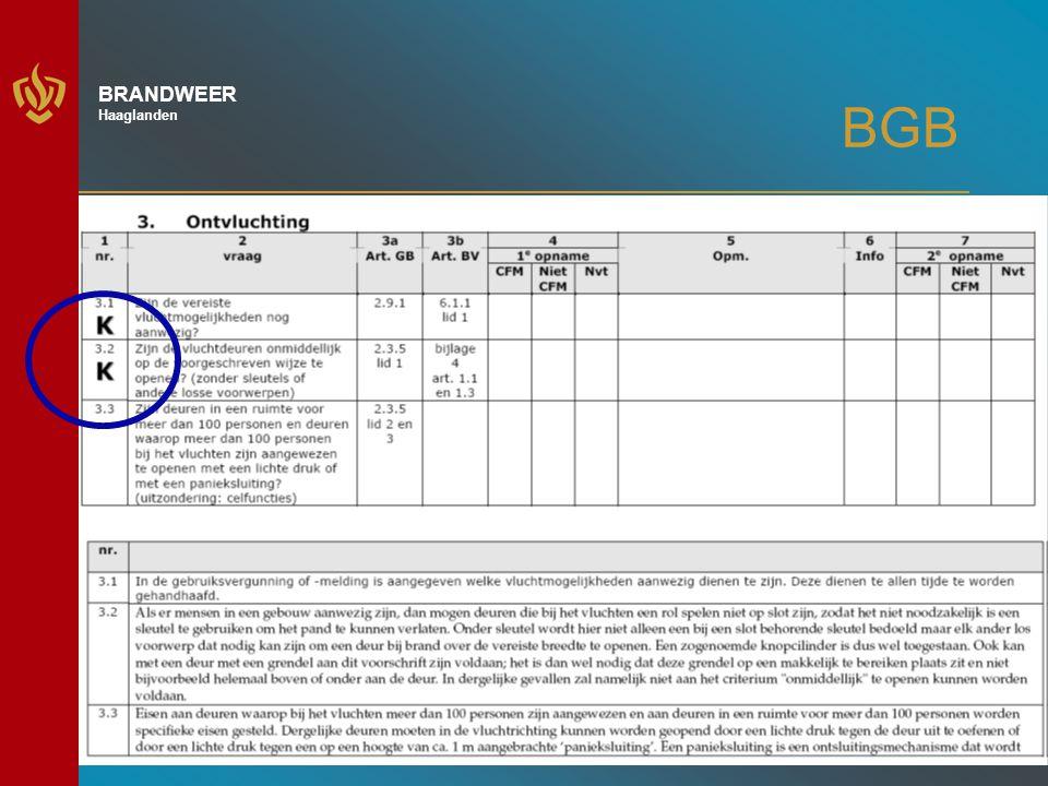 17 BRANDWEER Haaglanden BGB Procesgang: - Na opdracht door gebruiker meldt BGB-bedrijf aan Kiwa; - Keuring middels opnamerapport - kernpunten - algemene punten - objectdocumenten - Eventueel is Kiwa bij de keuring aanwezig (steekproef) - Invullen opnamerapport op locatie - (voorlopige) afmelding keuring in portal bij Kiwa - Indien noodzakelijk volgt tweede opname binnen 4 weken Indien er een geschil is: Klachtenregeling Kiwa !