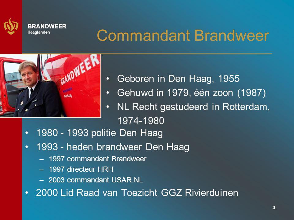 3 BRANDWEER Haaglanden Commandant Brandweer 1980 - 1993 politie Den Haag 1993 - heden brandweer Den Haag –1997 commandant Brandweer –1997 directeur HRH –2003 commandant USAR.NL 2000 Lid Raad van Toezicht GGZ Rivierduinen Geboren in Den Haag, 1955 Gehuwd in 1979, één zoon (1987) NL Recht gestudeerd in Rotterdam, 1974-1980