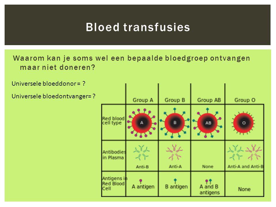 Bloed transfusies Waarom kan je soms wel een bepaalde bloedgroep ontvangen maar niet doneren? Universele bloeddonor = ? Universele bloedontvanger= ?
