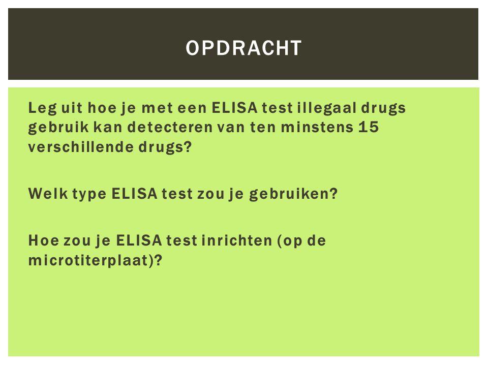 OPDRACHT Leg uit hoe je met een ELISA test illegaal drugs gebruik kan detecteren van ten minstens 15 verschillende drugs? Welk type ELISA test zou je