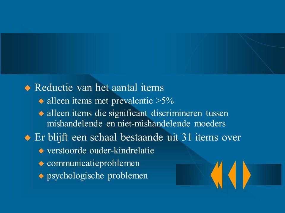  Reductie van het aantal items u alleen items met prevalentie >5% u alleen items die significant discrimineren tussen mishandelende en niet-mishandel