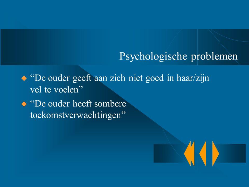 """Psychologische problemen  """"De ouder geeft aan zich niet goed in haar/zijn vel te voelen""""  """"De ouder heeft sombere toekomstverwachtingen"""""""