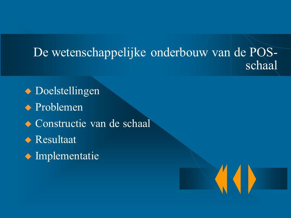 De wetenschappelijke onderbouw van de POS- schaal  Doelstellingen  Problemen  Constructie van de schaal  Resultaat  Implementatie