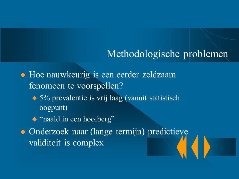 Methodologische problemen  Hoe nauwkeurig is een eerder zeldzaam fenomeen te voorspellen? u 5% prevalentie is vrij laag (vanuit statistisch oogpunt)