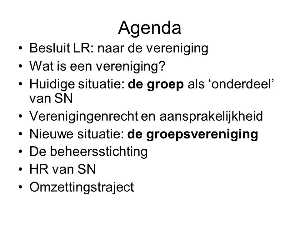 Agenda Besluit LR: naar de vereniging Wat is een vereniging.