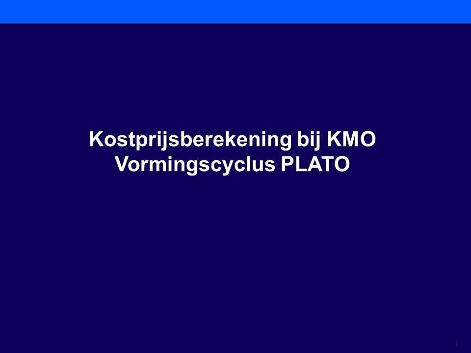 1 Kostprijsberekening bij KMO Vormingscyclus PLATO