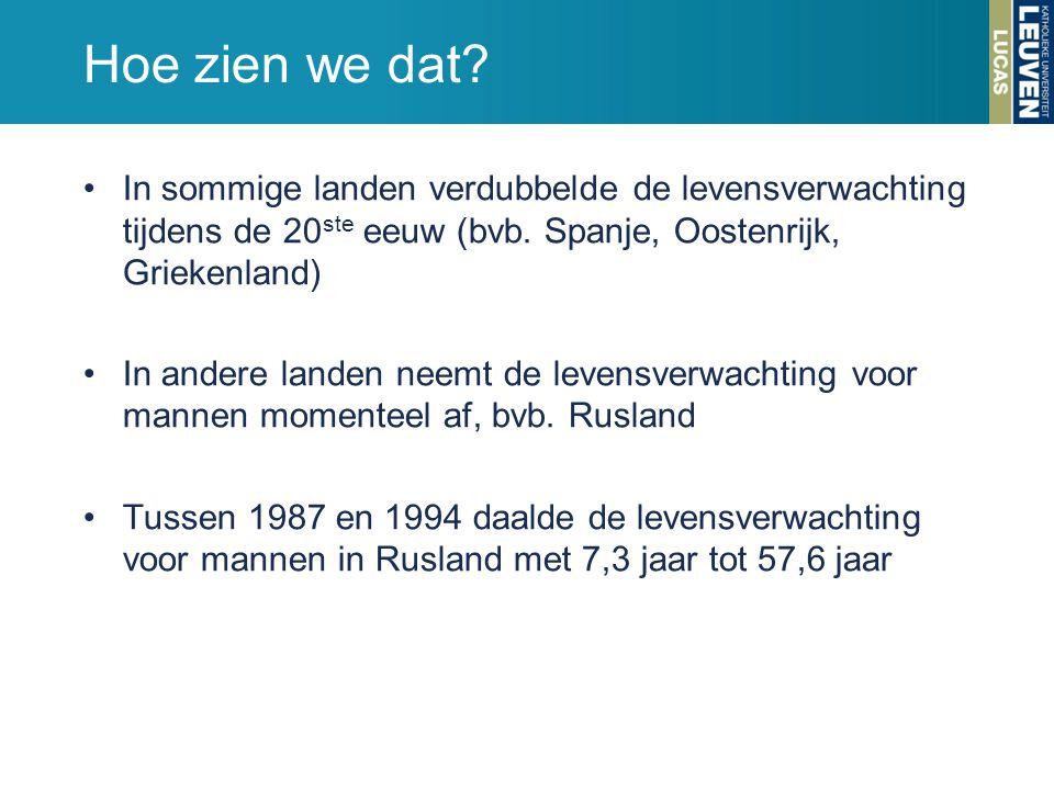 Hoe zien we dat? In sommige landen verdubbelde de levensverwachting tijdens de 20 ste eeuw (bvb. Spanje, Oostenrijk, Griekenland) In andere landen nee