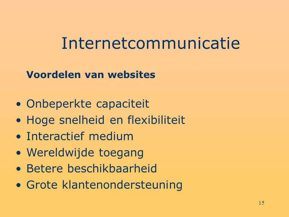 15 Internetcommunicatie Voordelen van websites Onbeperkte capaciteit Hoge snelheid en flexibiliteit Interactief medium Wereldwijde toegang Betere beschikbaarheid Grote klantenondersteuning
