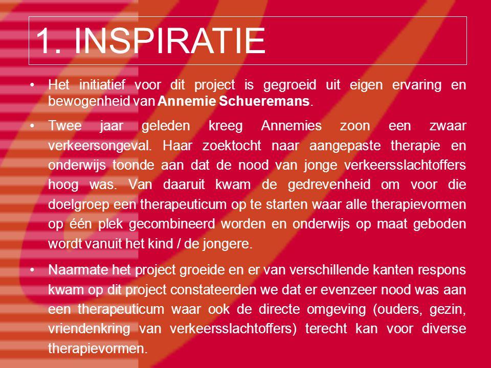 Het initiatief voor dit project is gegroeid uit eigen ervaring en bewogenheid van Annemie Schueremans. Twee jaar geleden kreeg Annemies zoon een zwaar