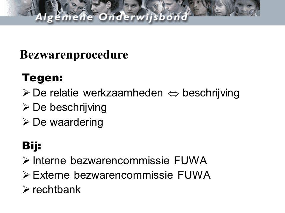 Tegen:  De relatie werkzaamheden  beschrijving  De beschrijving  De waardering Bij:  Interne bezwarencommissie FUWA  Externe bezwarencommissie F
