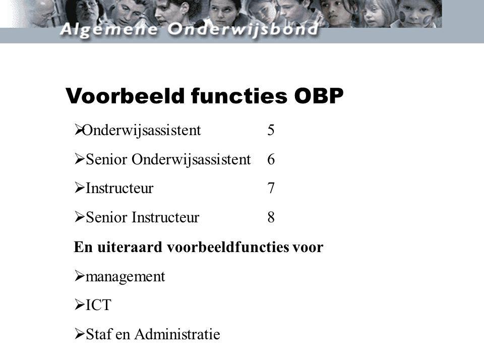 Voorbeeld functies OBP  Onderwijsassistent5  Senior Onderwijsassistent6  Instructeur7  Senior Instructeur8 En uiteraard voorbeeldfuncties voor  m