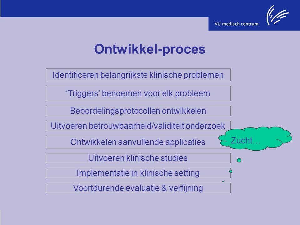 Ontwikkel-proces Identificeren belangrijkste klinische problemen 'Triggers' benoemen voor elk probleem Beoordelingsprotocollen ontwikkelen Uitvoeren b
