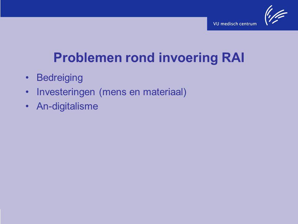 Problemen rond invoering RAI Bedreiging Investeringen (mens en materiaal) An-digitalisme