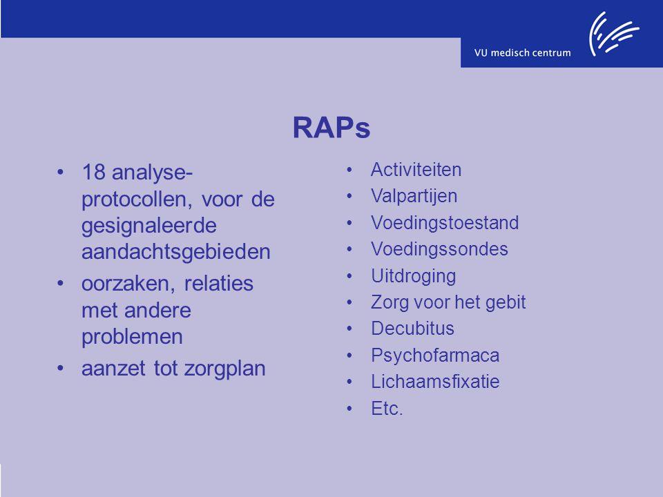 RAPs 18 analyse- protocollen, voor de gesignaleerde aandachtsgebieden oorzaken, relaties met andere problemen aanzet tot zorgplan Activiteiten Valpart