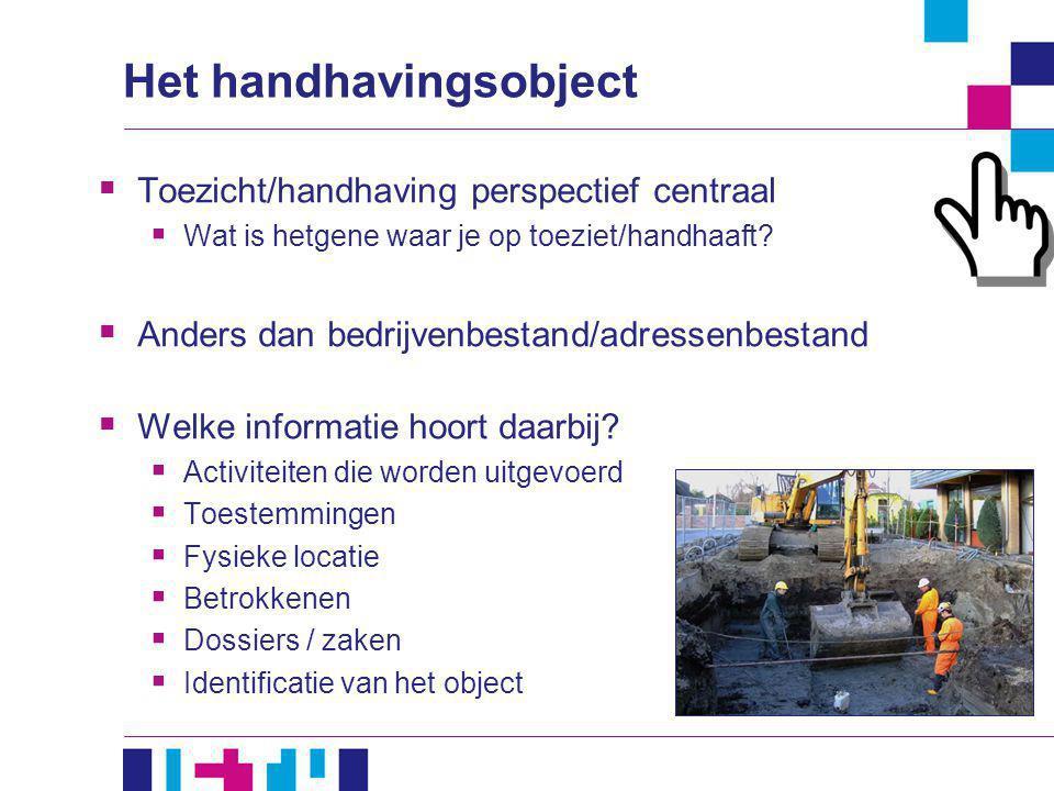 Het handhavingsobject  Toezicht/handhaving perspectief centraal  Wat is hetgene waar je op toeziet/handhaaft?  Anders dan bedrijvenbestand/adressen