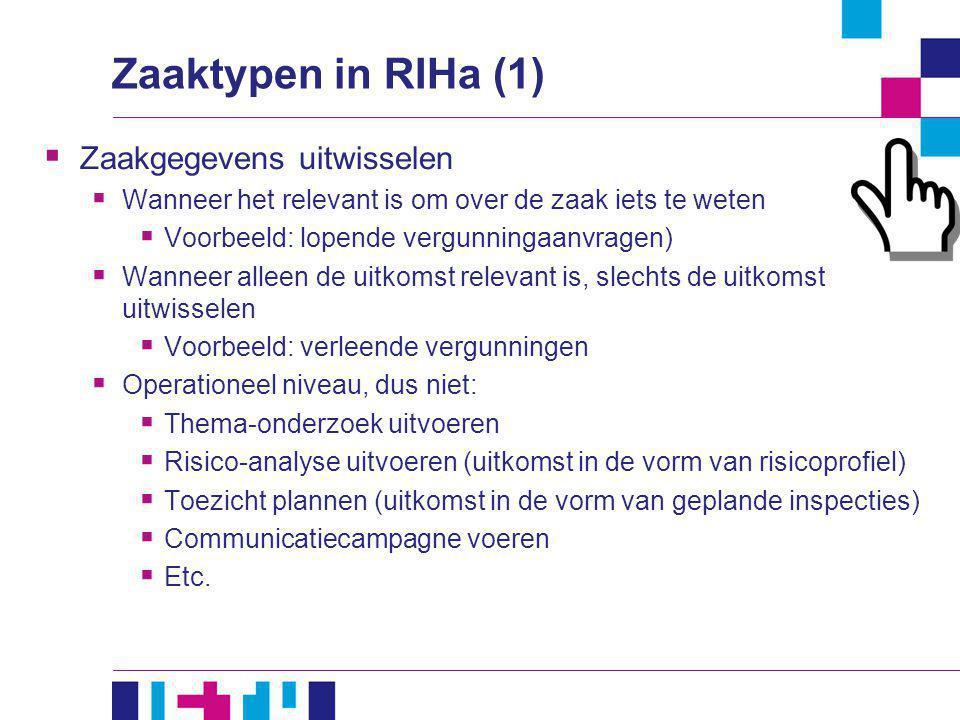 Zaaktypen in RIHa (1)  Zaakgegevens uitwisselen  Wanneer het relevant is om over de zaak iets te weten  Voorbeeld: lopende vergunningaanvragen)  W