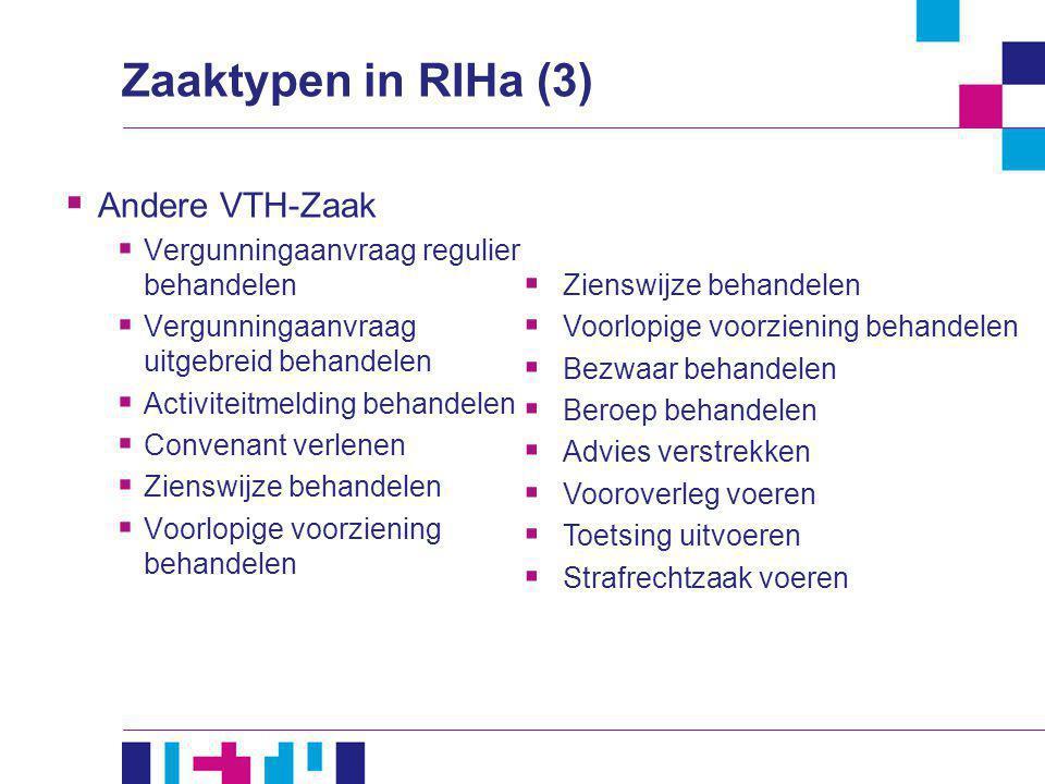 Zaaktypen in RIHa (3)  Andere VTH-Zaak  Vergunningaanvraag regulier behandelen  Vergunningaanvraag uitgebreid behandelen  Activiteitmelding behand