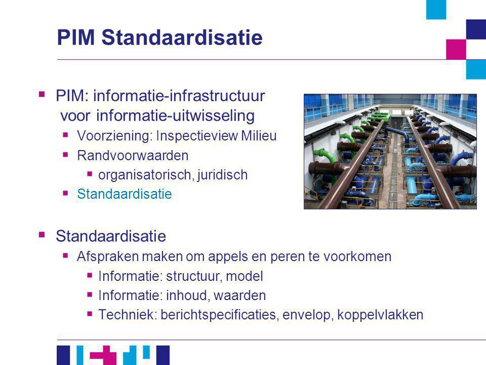  PIM: informatie-infrastructuur voor informatie-uitwisseling  Voorziening: Inspectieview Milieu  Randvoorwaarden  organisatorisch, juridisch  Sta