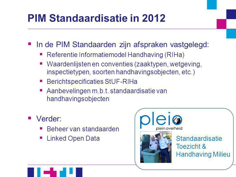 PIM Standaardisatie in 2012  In de PIM Standaarden zijn afspraken vastgelegd:  Referentie Informatiemodel Handhaving (RIHa)  Waardenlijsten en conv