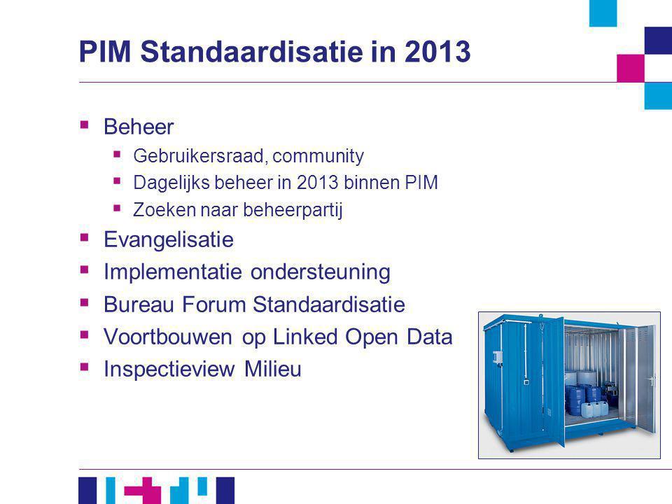 PIM Standaardisatie in 2013  Beheer  Gebruikersraad, community  Dagelijks beheer in 2013 binnen PIM  Zoeken naar beheerpartij  Evangelisatie  Im