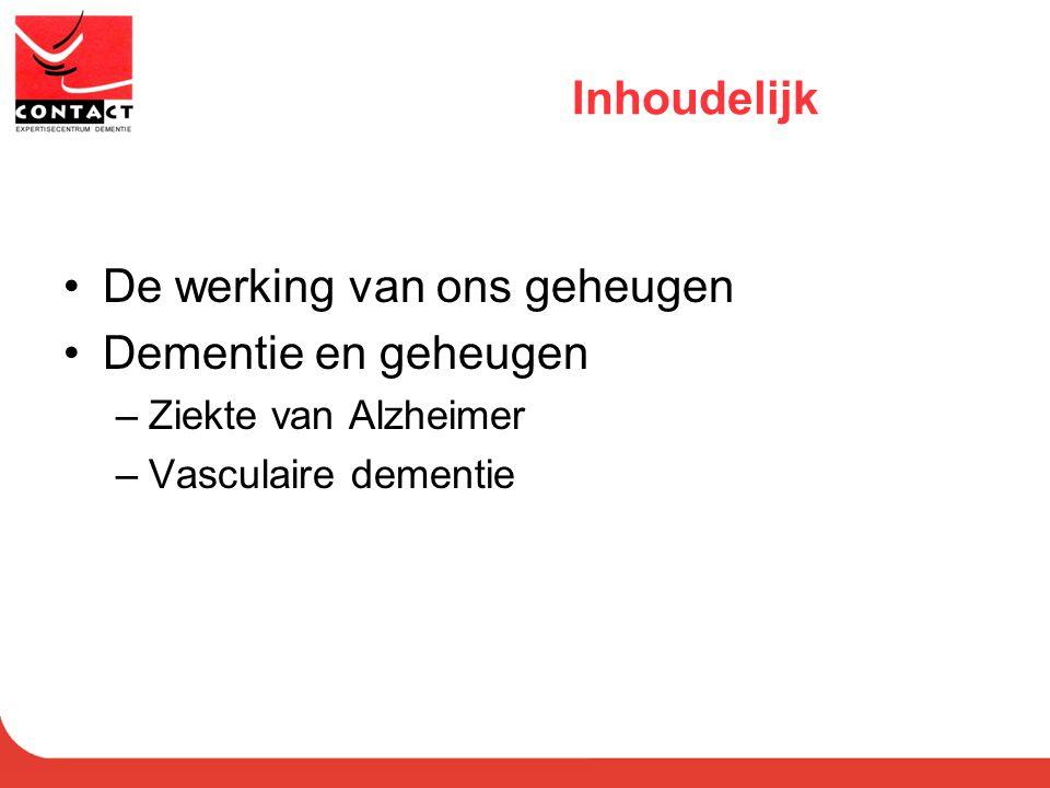 Inhoudelijk De werking van ons geheugen Dementie en geheugen –Ziekte van Alzheimer –Vasculaire dementie