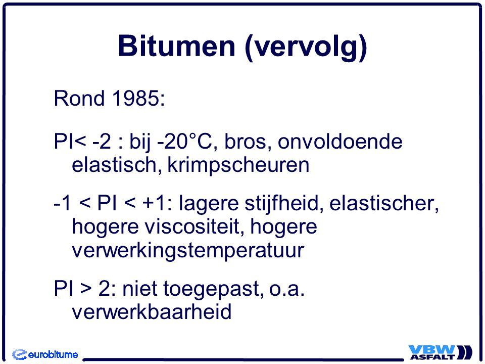 Bitumen (vervolg) Rond 1985: PI< -2 : bij -20°C, bros, onvoldoende elastisch, krimpscheuren -1 < PI < +1: lagere stijfheid, elastischer, hogere viscositeit, hogere verwerkingstemperatuur PI > 2: niet toegepast, o.a.
