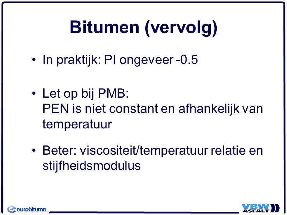 Bitumen (vervolg) In praktijk: PI ongeveer -0.5 Let op bij PMB: PEN is niet constant en afhankelijk van temperatuur Beter: viscositeit/temperatuur relatie en stijfheidsmodulus