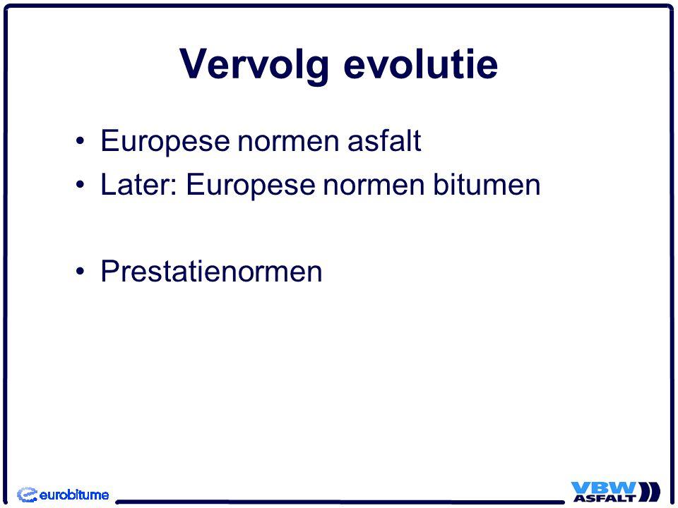 Vervolg evolutie Europese normen asfalt Later: Europese normen bitumen Prestatienormen