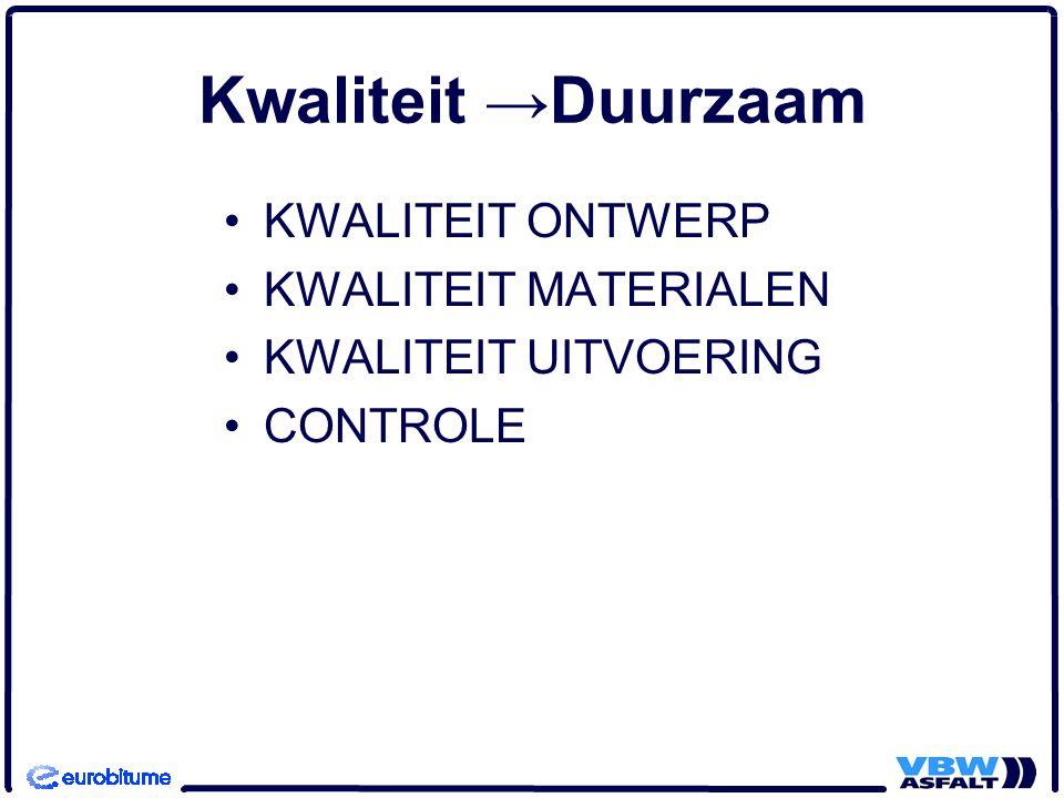 Kwaliteit →Duurzaam KWALITEIT ONTWERP KWALITEIT MATERIALEN KWALITEIT UITVOERING CONTROLE