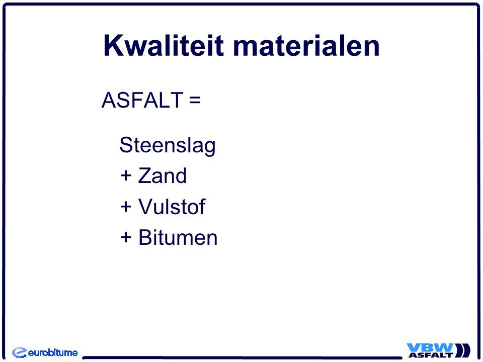 Geschiedenis NL: eisen 1978 Keuze bitumen door opdrachtgevers, meestal 80/100 Eisen bitumen: NEN 3902