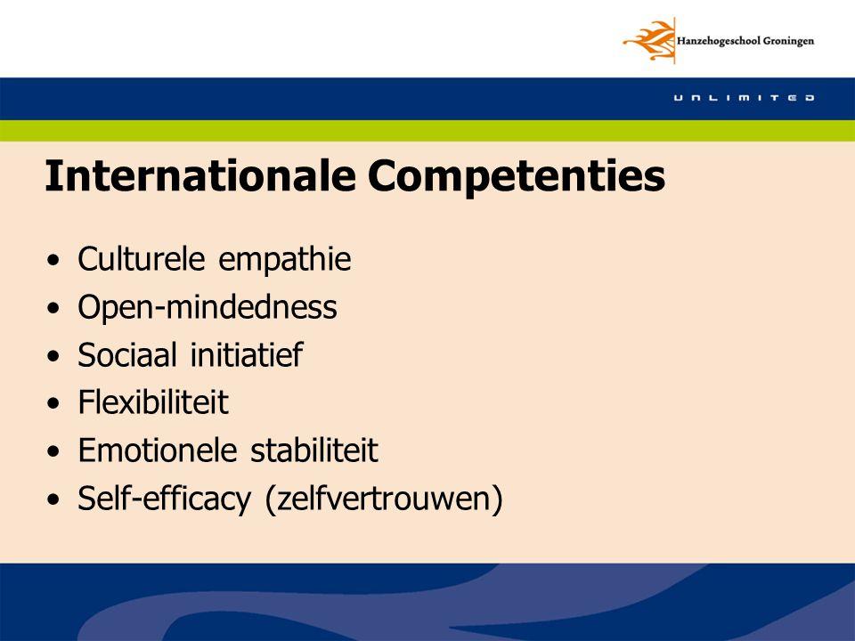 Culturele empathie Open-mindedness Sociaal initiatief Flexibiliteit Emotionele stabiliteit Self-efficacy (zelfvertrouwen) Internationale Competenties