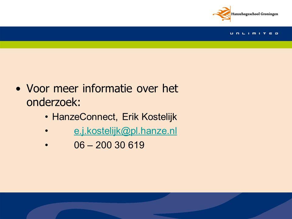 Voor meer informatie over het onderzoek: HanzeConnect, Erik Kostelijk e.j.kostelijk@pl.hanze.nl 06 – 200 30 619