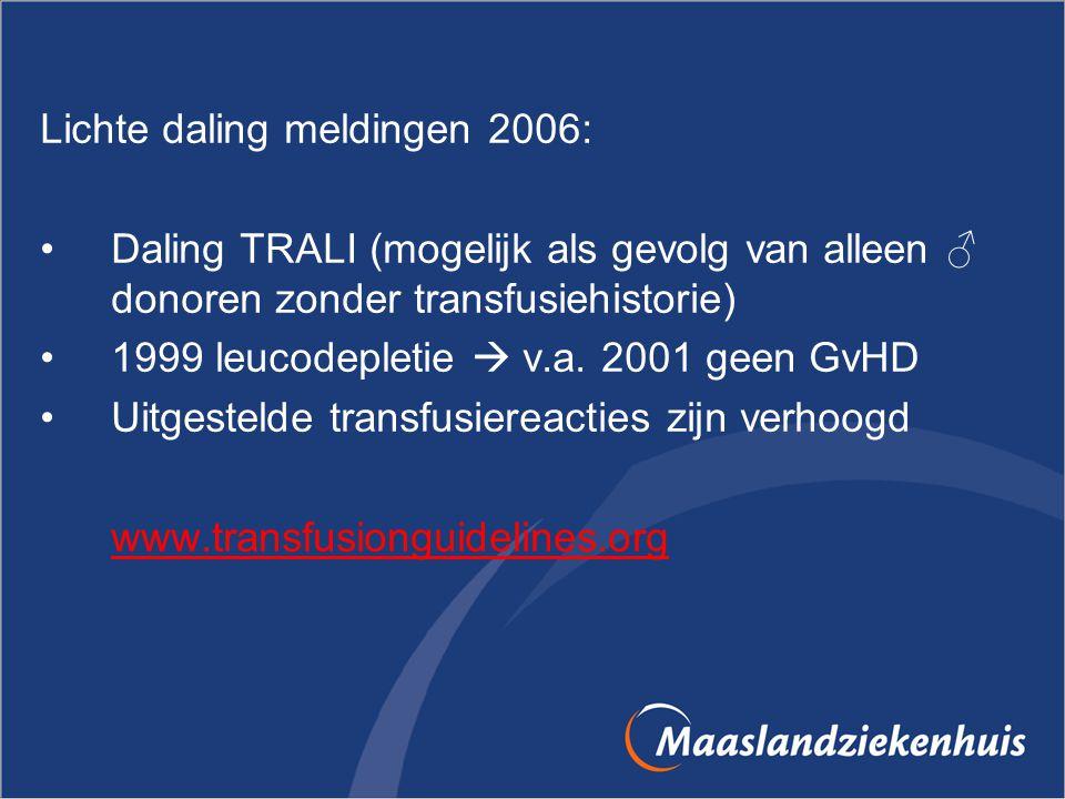 Lichte daling meldingen 2006: Daling TRALI (mogelijk als gevolg van alleen ♂ donoren zonder transfusiehistorie) 1999 leucodepletie  v.a. 2001 geen Gv
