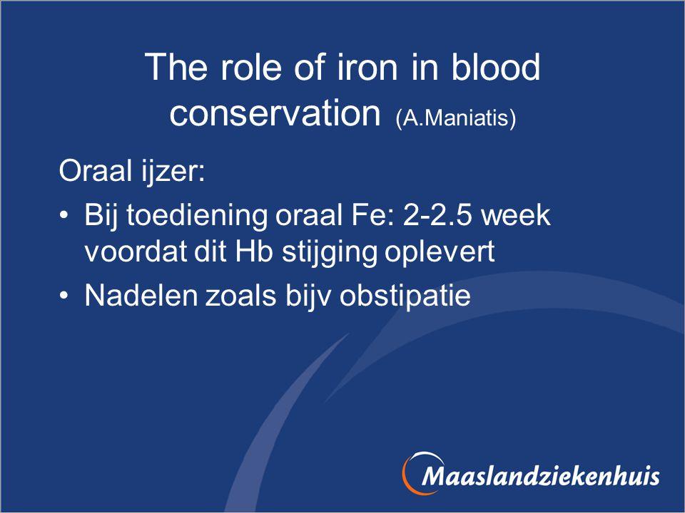 The role of iron in blood conservation (A.Maniatis) Oraal ijzer: Bij toediening oraal Fe: 2-2.5 week voordat dit Hb stijging oplevert Nadelen zoals bi