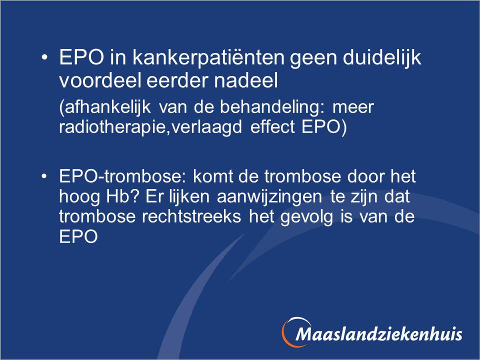 EPO in kankerpatiënten geen duidelijk voordeel eerder nadeel (afhankelijk van de behandeling: meer radiotherapie,verlaagd effect EPO) EPO-trombose: ko